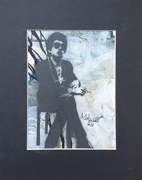 Lässig, Zigarette, Abstrakte malerei, Mann