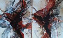 Braun, Schwarz, Abstrakte malerei, Kupferfarben
