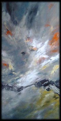 Wolken, Orange, Ebene, Schwarz