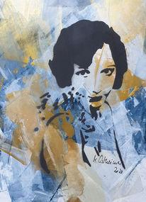 Frau, Beige, Portrait, Abstrakte malerei