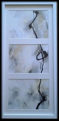 Abstrakte malerei, Gold, Beige, Linie