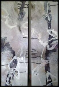 Abstrakte malerei, Mischtechnik, Braun, Bordeau