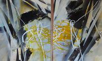 Grau, Weiß, Abstrakte malerei, Linie