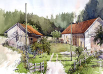 Aquarellmalerei, Bauernhof, Hallertau, Aquarell