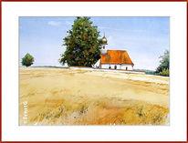 Kapelle, Sommer, Aquarell,