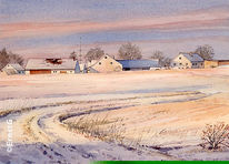 Winter, Schnee, Winterstimmung, Aquarell