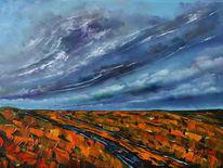Feld, Wiese, Wolken, Malerei
