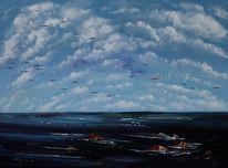 Wolken, Ostsee, Meer, Malerei