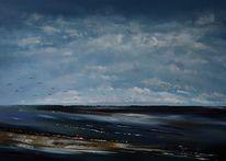 Meer, Zugvögel, Ostsee, Wolken
