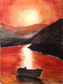 Fluss, Abendstimmung, Boot, Aquarell