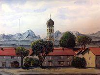 Berge, Kirche, Hohenbrunn, Föhn