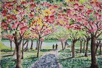 Park, Frühling, Baum, Aquarell