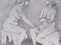 Pause, Akt, Weiblich, Grau