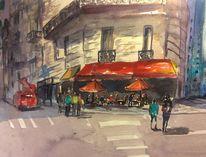 Frankreich, Cafe, Paris, Aquarell