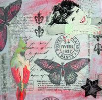Mischtechnik, Frau, Schmetterling, Poststempel