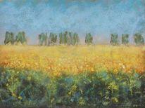 Gelb, Pastellmalerei, Blühendes rapsfeld, Kreide