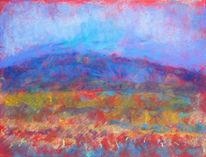 Pastellmalerei, Blauer himmel, Berge, Wiese