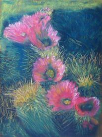 Kaktus, Pastellmalerei, Wüste, Kreide