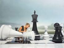 Schachfiguren, Schachbrett, Frau, Schach