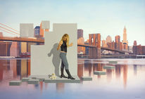 New york, Mädchen, Brooklyn bridge, Junge frau