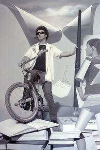 Junge, Fahrrad, Liebe, Schwarz weiß