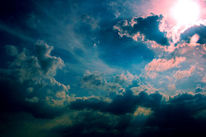 Sonne, Höhe, Wolken, Licht