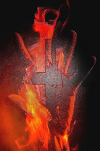 Flammen, Kreuz, Glas, Religion
