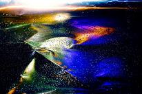 Wasser, Blech, Farben, Tropfen