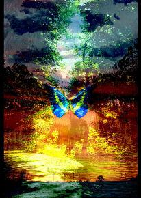 Baum, Wasser, Sonne, Schmetterling