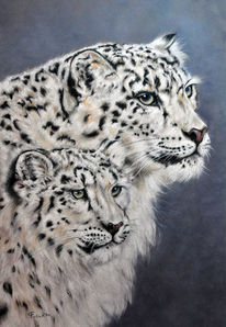 Großkatze, Tierbaby, Wildtier, Pastellmalerei
