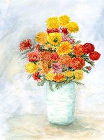 Chrysantheme, Vase, Herbst, Blumen