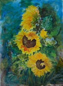 Sommer, Gelb, Spachteltechnik, Blumen