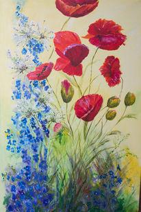 Blumen, Acrylmalerei, Rot, Mohn