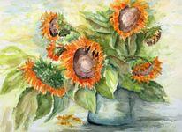Sonnenblumen, Blumen, Strauß, Vase