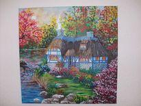 Herbst, Haus, See, Landschaft