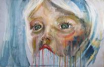 Acrylmalerei, Kind, Blau, Gesicht