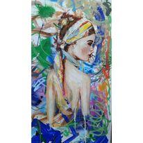 Figur, Frau, Acrylmalerei, Malerei