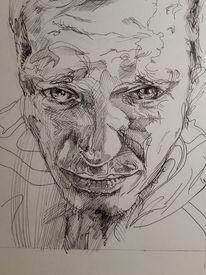 Zeichnung, Portrait, Mann, Tuschmalerei