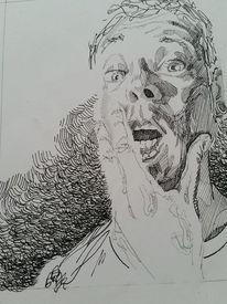 Portrait, Mann, Tuschmalerei, Zeichnung