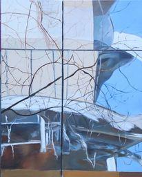Spiegelung, Ölmalerei, Architektur, Natur