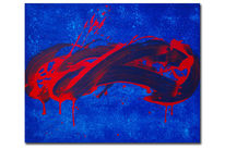Gestisch, Abstrakt, Blau, Rot