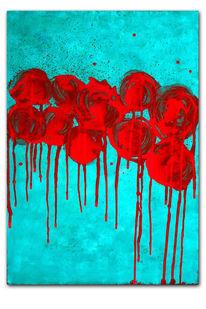Malplatte, Türkis, Acrylmalerei, Rot