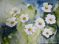 Weiße blumen, Wandbild, Natur, Aquarellmalerei