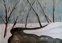 Schnee, Schwarz, Winterlandschaft, Landschaft