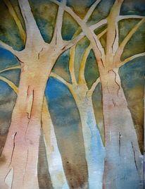 Wald, Herbstwald, Baum, Aquarellmalerei