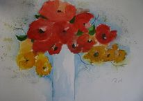 Blumen, Blüte, Aquarellmalerei, Stillleben