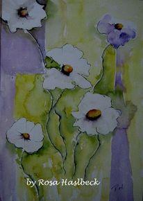 Aquarellmalerei, Natur, Weiße blumen, Blumen