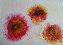 Acrylmalerei, Blumen, Abstrakt, Spachteltechnik