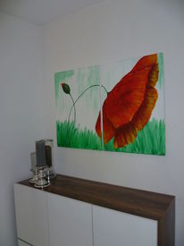 Malen, Mohn, Acrylmalerei, Blumen
