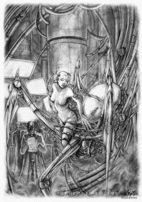 Dame, Wissenschaft, Bleistiftzeichnung, Steampunk